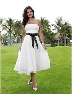 A-vonalú Pánt nélküli Tea-hossz Sifon Esküvői ruha val vel Pántlika / szalag által LAN TING BRIDE®