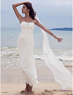 Tubinho Decote Princesa Até o Tornozelo Chiffon Vestido de casamento com Miçangas Franzido de LAN TING BRIDE®