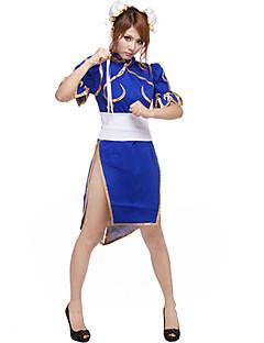 Inspireret af Street Fighter Chun-Li video Spil Cosplay Kostumer Cosplay Suits Patchwork Blå Kort Ærme Cheongsam / Hovedstykke / Korset