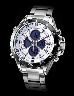 WEIDE Herren Armbanduhr Quartz Japanischer Quartz LCD Kalender Chronograph Wasserdicht Duale Zeitzonen Alarm Edelstahl Band SilberSchwarz