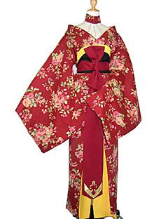 Cosplay Kostumer Festkostume Cosplay Festival/Højtider Halloween Kostumer Rød Blomstret Kimono Bælte Kimono FrakkeHalloween Jul Karneval
