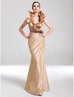 Mořská panna Do V Na zem Taft Formální večer Vojenský ples Šaty s Boční řasení Volány podle TS Couture®