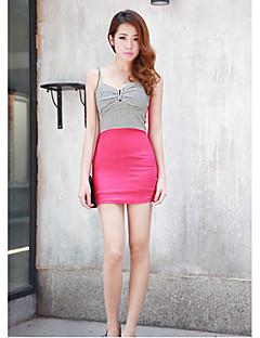 Hanguoyi Women's Contrast Color V Neck Bodycon Dress