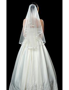 Véus de Noiva Uma Camada Véu Ponta dos Dedos Borda com Tira 53,15 in (135cm) Tule Branco MarfimLinha-A, Vestido de Baile, Princesa,