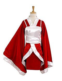 Inspireret af LOL Akari video Spil Cosplay Kostumer Cosplay Kostumer Kimono Patchwork Rød Langt Ærme Kimono Frakke Vest