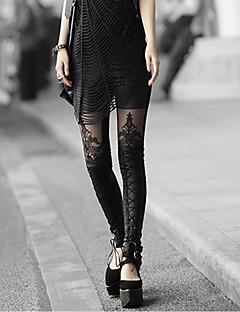 Vrouwen Embroidery Stitching Leer Leggings
