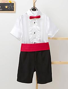 Polester/Cotton Blend Ring Bearer Suit - Four-piece Suit Pieces Includes  Pants Waist cummerbund Shirt Bow Tie