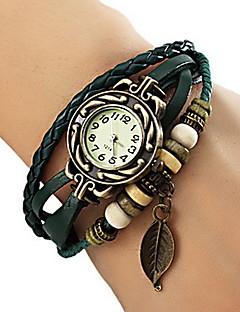 לנשים שעוני אופנה שעון צמיד קווארץ PU להקה עלים בוהמי שחור אדום תפוז חום ירוק