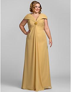 シース/コラムVネックフロアレングスシフォンウエディングドレス(tscouture®byクリスタル)