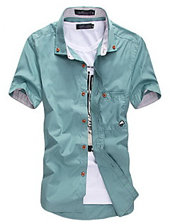 Men's Casual/Daily Plus Size Simple Summer Shirt,Solid Button Down Collar Short Sleeves Cotton Polyester