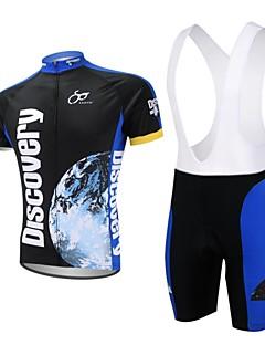 XAOYO 짧은 소매 싸이클 빕 반바지 져지 남성의 자전거 반바지 져지 의류 세트/수트 빠른 드라이 백 포켓 폴리에스터 100% 폴리에스터 자연 & 풍경 여름 사이클링/자전거 다크 블루