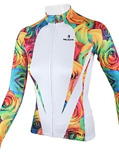 ILPALADINO Maillot de Cyclisme Femme Manches Longues Vélo Maillot Hauts/Tops Séchage rapide Respirable 100 % Polyester Floral / Botanique