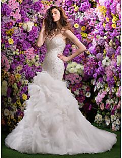 Havfrue Kæreste Hofslæb Organza Bryllupskjole med Perlearbejde Afhentning ved LAN TING BRIDE®