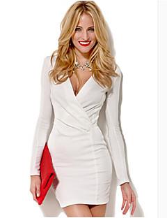 Kakani europejska moda damska długi rękaw V Neck kolor sukni stałe