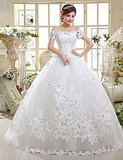 Ball Gown Off-the-shoulder Floor Length Satin Tulle Wedding Dress with Beading Sequin Appliques by QQC Bridal