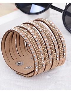 Femme Bracelets Bracelets en cuir Résine Imitation de diamant Original Mode Bijoux Noir Gris Violet Bleu Chameau Bijoux 1pc