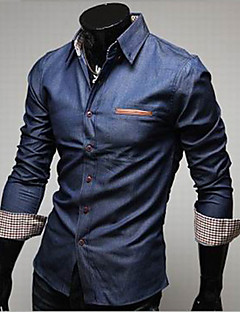 Men's Casual/Daily Simple Spring Fall Shirt,Solid Classic Collar Long Sleeves Cotton Polyester