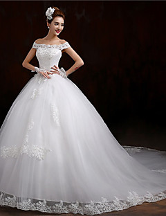 Ball Gown Off-the-shoulder Cathedral Train Tulle Wedding Dress with Beading Appliques by AMGAM