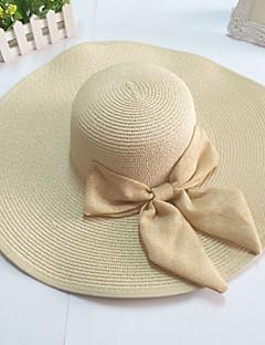 grande chapéu flexível brim palha arco das mulheres