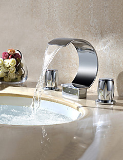 コンテンポラリー 組み合わせ式 滝状吐水タイプ 回転可 with  真鍮バルブ 三つ 二つのハンドル三穴 for  クロム , バスルームのシンクの蛇口