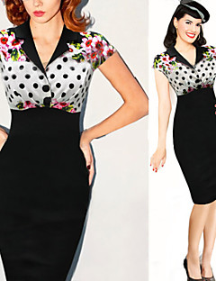 Para Women's Vintage/Sexy/Bodycon/Print/Party/Work Short Sleeve Dresses (Cotton Blend/Polyester)