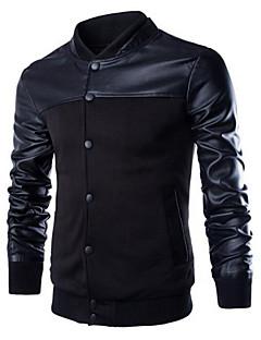 男性用 パッチワーク カジュアル ジャケット,長袖,PUレザー / コットン,ブラック / グレー