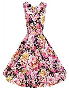 kobieca sukienka rocznik v szyi, elastan powyżej bez rękawów kolana