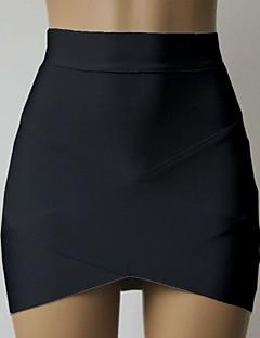 Damen Sexy Lässig/Alltäglich Über dem Knie Röcke Bodycon,Gefaltet einfarbig Herbst