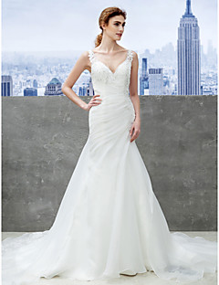 Mermaid / Trumpet Strap Chapel Train Organza Wedding Dress with Appliques by LAN TING BRIDE®