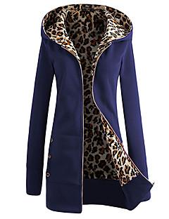 Damen Hoodie-Jacke Lässig/Alltäglich Einfach Solide Leopard Polyester Lange Ärmel Winter