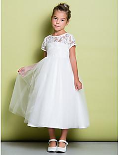 Α-γραμμή τσάι λουλούδι κορίτσι μήκος φόρεμα - δαντέλα τούλι κοντό μανίκι λαιμό κόσμημα με δαντέλα από lan ting bride®