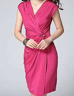 Women's Solid Pink  Green Dress , Sexy  Bodycon V Neck Short Sleeve