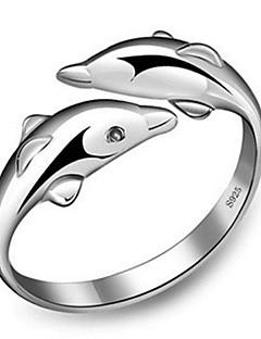Kadın's Evlilik Yüzükleri manşet Yüzük Ayarlanabilir sevimli Stil Moda kostüm takısı Som Gümüş Animal Shape Mücevher Uyumluluk Parti
