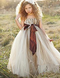 φόρεμα κορίτσι λουλουδιών φόρεμα με μπάλα φόρεμα - πολυεστέρα αμάνικα μακρυμάνικα με κορδέλα από thstylee