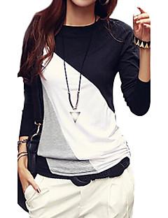 Feminino Camiseta Casual / Tamanhos Grandes Simples / Moda de Rua Outono,Color Block Preto / Marrom Algodão / Poliéster / OutrosDecote