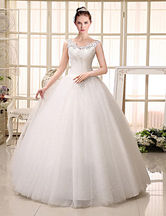 Ball Gown V-neck Floor Length Lace Tulle Wedding Dress with Beading Sequin Appliques by QQC Bridal
