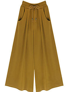 レディース ストリートファッション ミッドライズ ワイドレッグ 伸縮性 ジーンズ パンツ ソリッド