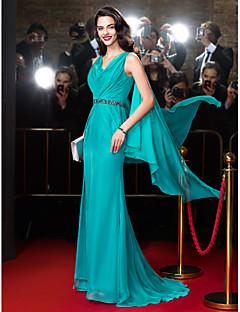Schouder- / kolomkoep nekveeg / borstel-trein chiffon prom jurk met kralen door ts couture®