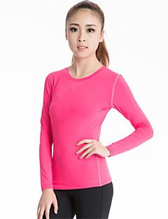 Dame T-skjorte til jogging Langermet Fort Tørring Pustende Komprimering Svettereduserende Kompressjonsklær Topper til Yoga & Danse Sko