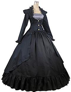 Yksiosainen/Mekot Klassinen ja Perinteinen Lolita Vintage-kokoelma Cosplay Lolita-mekot Musta Vintage Pitkähihainen Pitkä Pituus Leninki