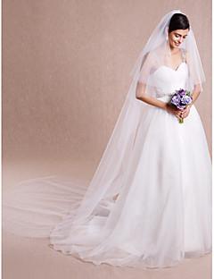 Véus de Noiva Duas Camadas Véu Catedral Corte da borda Tule Branco Marfim