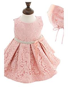 Baby Party/Cocktail Dress Blomstret Polyester Alle årstider Rosa / Hvit