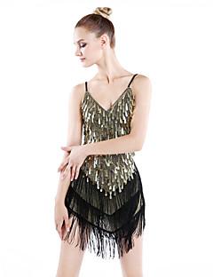 ריקוד לטיני שמלות בגדי ריקוד נשים ביצועים ספנדקס פוליאסטר חלק 1 שמלה