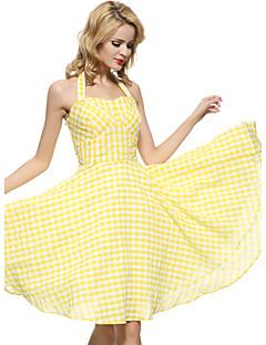 Maggie Tang Women's Backless  50s VTG Retro Check Rockabilly Hepburn Pinup Business Swing Dress 571