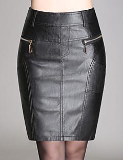 Damen Röcke - Sexy / Einfach Übers Knie PU Mikro-elastisch