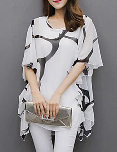 TS Women's Flare Sleeve Casual/Daily Plus Size Summer Blouse,Print Round Neck Short Sleeve White/Black Polyester Medium
