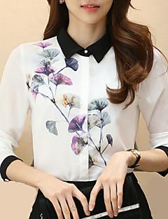 Damen Blumen Arbeit Übergröße Hemd,Hemdkragen Alle Saisons Langarm Polyester Dünn