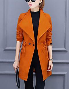 Notch Lapel Langærmet Medium Dame Rød Sort Orange Ensfarvet Efterår Vinter Street Casual/hverdag Trenchcoat,Polyester