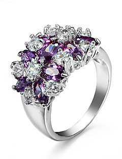 White Gold Plated Wedding Jewelry Rings for Women Crystal Engagement Silver Zircon CZ Diamond Ring