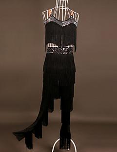ריקוד לטיני תלבושות ביצועים ספנדקס 2 חלקים בלי שרוולים גבוה עליון מכנסיים